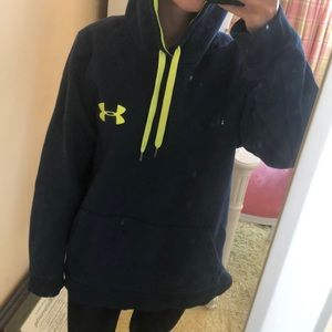 Navy and neon yellow under armour hoodie